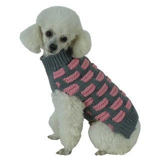 Pink and Grey Fashion Weaved Heavy Knit Designer Ribbed Turtle Neck Dog Sweater