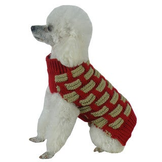 Red and Tan Fashion Weaved Heavy Knit Designer Ribbed Turtle Neck Dog Sweater