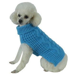 Blue Swivel-Swirl Heavy Cable Knitted Fashion Designer Dog Sweater