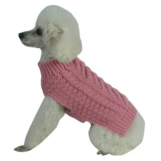 Solid Pink Swivel-Swirl Heavy Cable Knitted Fashion Designer Dog Sweater