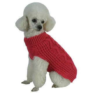 Solid Red Swivel-Swirl Heavy Cable Knitted Fashion Designer Dog Sweater
