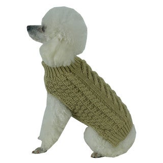 Solid Green Swivel-Swirl Heavy Cable Knitted Fashion Designer Dog Sweater