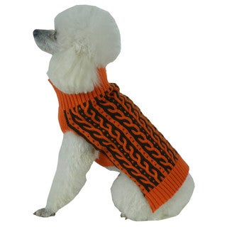 Orange with Brown Harmonious Dual Color Weaved Heavy Cable Knitted Fashion Designer Dog Sweater