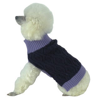 Purple Oval Weaved Heavy Knitted Fashion Designer Dog Sweater