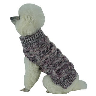 Royal Bark Grey and Pink Heavy Cable Knitted Designer Fashion Dog Sweater