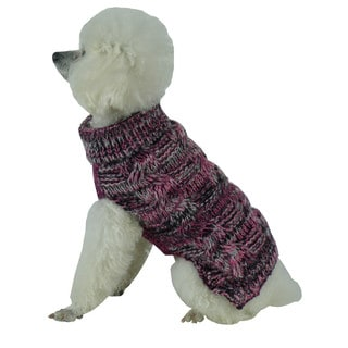 Royal Bark Black and Pink Heavy Cable Knitted Designer Fashion Dog Sweater