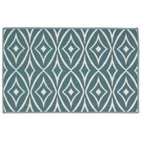Waverly Fancy Free and Easy Centro Aqua Area Rug by Nourison - 1'8 x 2'10