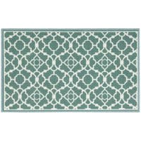 Waverly Fancy Free and Easy Lovely Lattice Teal Area Rug by Nourison - 1'10 x 4'6