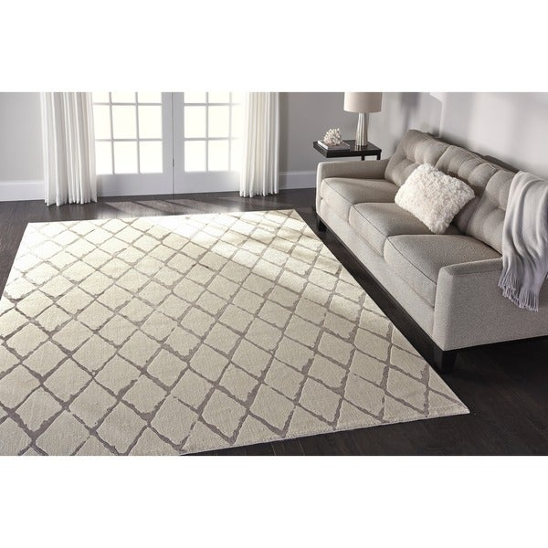 nourison twilight ivory grey trellis rug 86 x 116 free