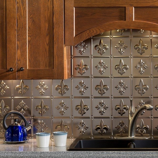 Fasade Fleur de Lis Brushed Nickel Backsplash 18 sq. ft. Kit