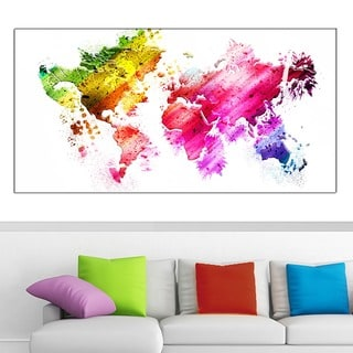 Design Art 'Colors of the World' Map 40 x 20 Canvas Art
