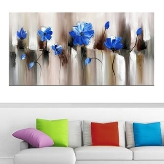 Design Art 'Blue Modern Flower' Art 40 x 20 Canvas Art Print