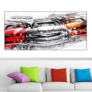 Design Art 'American Street Race Car' 40 x 20 Canvas Art - 40 in. wide x 20 in. high