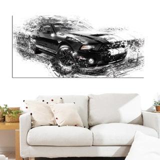 Design Art 'Black and White Muscle Car' 40 x 20 Canvas Art