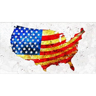Design Art 'USA Flag on the Map' 40 x 20 Canvas Art Print