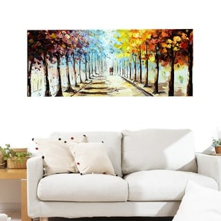 Design Art 'Lets Go For A Stroll' Landscape Forest 40 x 20 Canvas Art Print