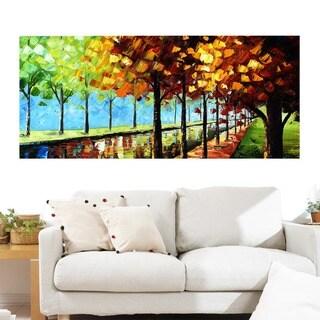 Design Art 'Changing Colors' Landscape Trees 40 x 20 Canvas Art Print