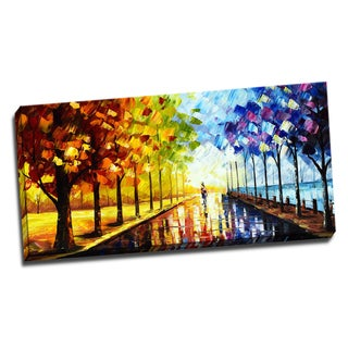 Design Art 'A Walk Through Color' Landscape Trees 40 x 20 Canvas Art Print