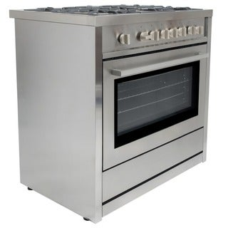 Cosmo COS-965AG 36-inch Gas Range with 5 Italian Made Burners, Broiler, and Motorized Rotisserie