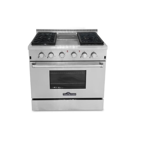 thor kitchen professional 36-inch stainless steel gas range with