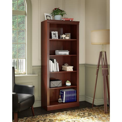 Bennington Adjustable 5-Shelf Bookcase in Harvest Cherry from kathy ireland Home by Bush Furniture