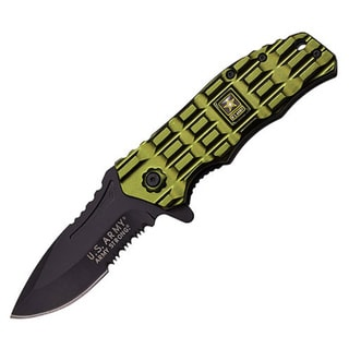 Army Spring Assisted Folder 3.25-inch Blade with Green Handle