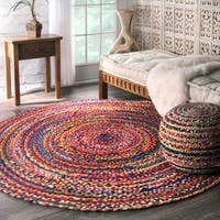 The Curated Nomad Grove Handmade Braided Multicolor Area Rug (6' Round) - 6'