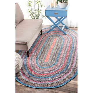 nuLOOM Casual Handmade Braided Cotton Multi Rug (3' x 5' Oval)