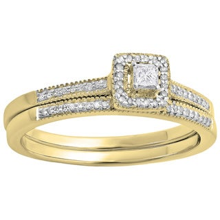 10k White Gold 1/4ct TDW Princess and Round Diamond Millgrain Halo Bridal Ring Set (H-I, I1-I2)