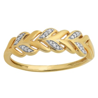 Elora Yellow Goldplated Sterling Silver Round Diamond Accent Vintage Style Stackable Anniversary Band