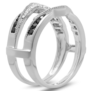 10k White Gold 1/2ct TDW Black and White Diamond Anniversary Ring Guard (H-I, I1-I2)