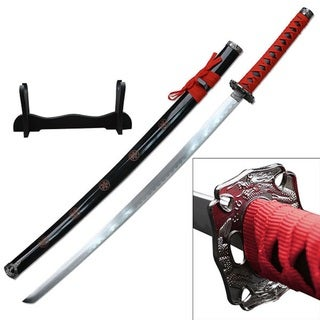 Samurai Katanas 26.5-inch Carbon Steel Blade with Wood Display
