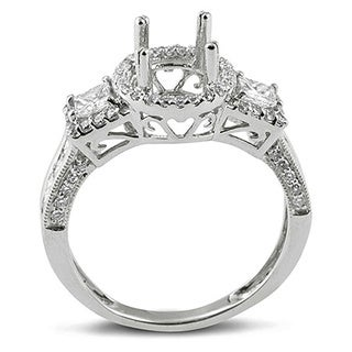 Elora 14k White Gold 1 1/5ct TDW Round and Princess Diamond Bridal Semi-mount Ring (H-I, I1-I2)