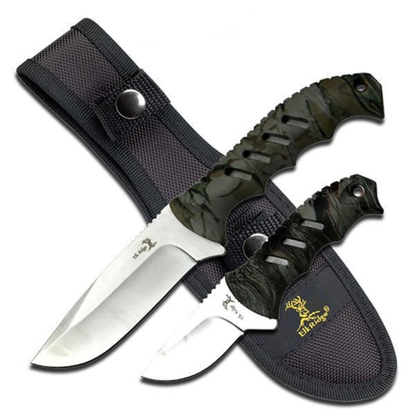 Elk Ridge Fixed Blade Knife Set 4.35-inch and 2.5-inch Blades