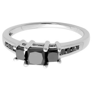 Elora Sterling Silver 1 1/4ct TDW Princess and Round Black Diamond 3-stone Engagement Ring