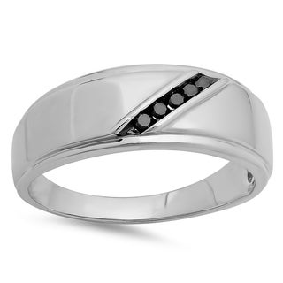 Elora Sterling Silver Men's 1/8ct TDW Round Black Diamond 5-stone Anniversary Band