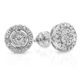 Elora 10k White Gold 2/5ct TDW Round-cut Diamond Flower Cluster Stud Earrings (H-I ,I1-I2)
