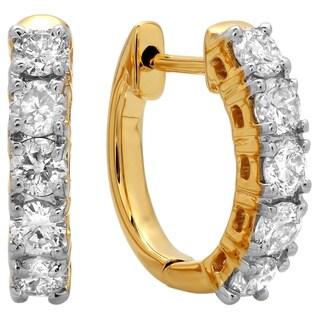 Elora 14k Yellow Gold 1/2ct TDW Round-cut Diamond Hoop Earrings (H-I ,I1-I2)