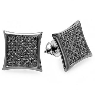 Black-plated Sterling Silver 1/4ct TDW Black Diamond Kite-shaped Hip Hop Micropave Stud Earrings