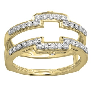 14k White Gold 1/2ct TDW Round-cut Diamond Anniversary Double Ring Guard (H-I, I1-I2)