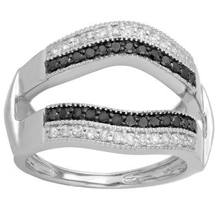 10k White Gold 1/2ct TDW Black and White Diamond Double-row Wedding Band Double Ring Guard (H-I, I1-I2)