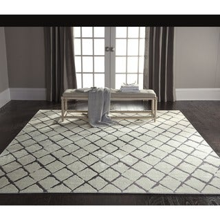 Nourison Twilight Ivory/Grey Trellis Rug (7'9 x 9'9)