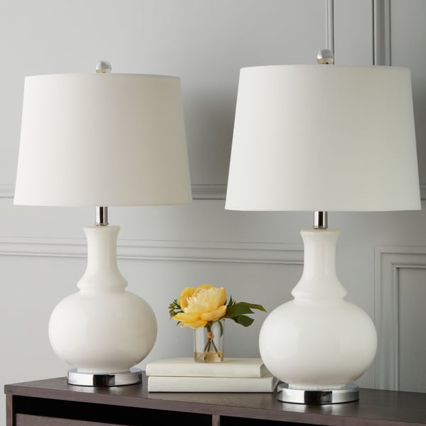 Abbyson Ellis White Glass Table Lamp (Set of 2)