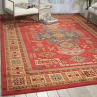 Nourison Maymana Persian Coral Red Polypropylene Area Rug (7'10 x 10'10)