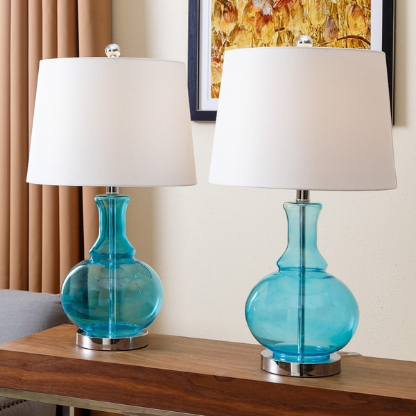 Abbyson Ellis Turquoise Glass Table Lamp Set Of 2