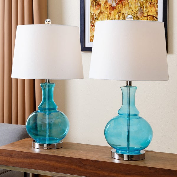 abbyson ellis turquoise glass table lamp set of 2 free. Black Bedroom Furniture Sets. Home Design Ideas