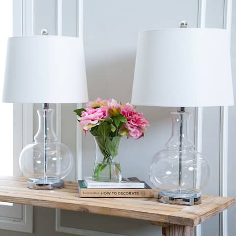 Abbyson Ellis Clear Glass 23.5-inch Table Lamp (Set of 2)