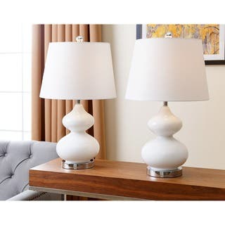 Buy lamp sets clearance liquidation online at overstock abbyson sophia white glass table lamp set of 2 mozeypictures Images