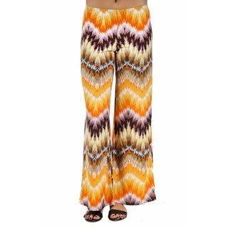 24/7 Comfort Apparel Women's Orange Chevron Stripe Palazzo Pants