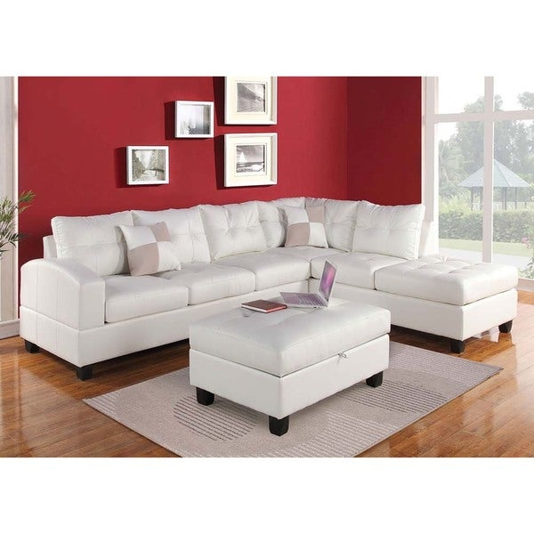 Impressive White Bonded Leather Sofa 3 White Leather: Shop Brovary Sectional Sofa Upholstered In Bonded Leather